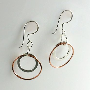 CP38: Handmade Copper & Silver Circles Dangle Earrings