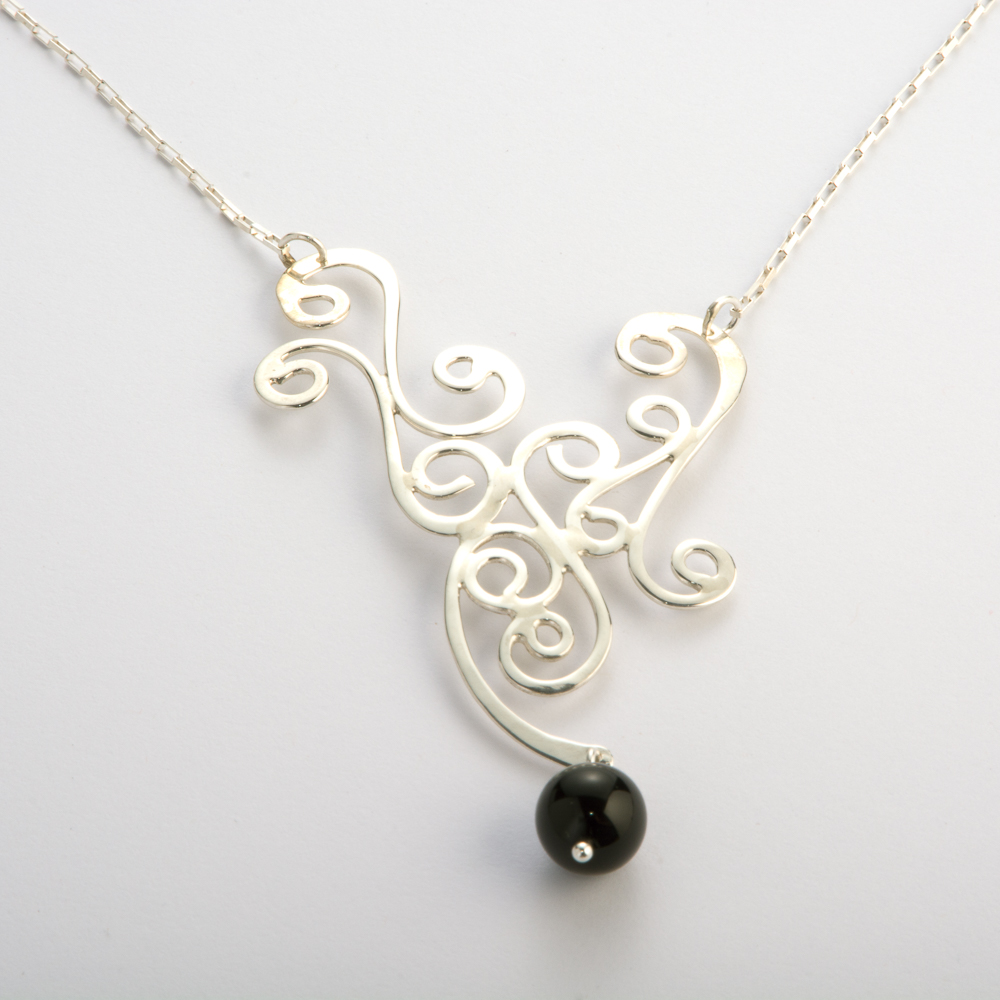 N26 handcrafted swirl black onyx necklace jenni k fine n26 handcrafted swirl black onyx necklace aloadofball
