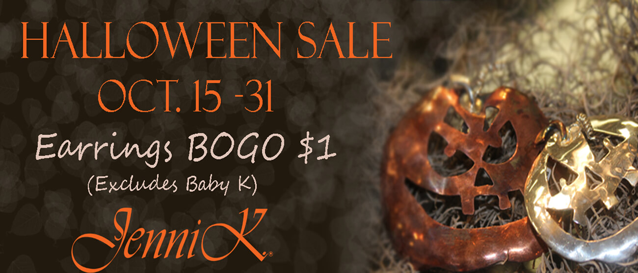 Halloween Sale: Buy a pair of earrings and get another for $1 - Oct 15th to Oct 31st